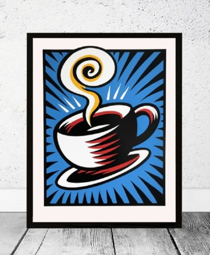 Coffee Cup – Blue by Burton Morris