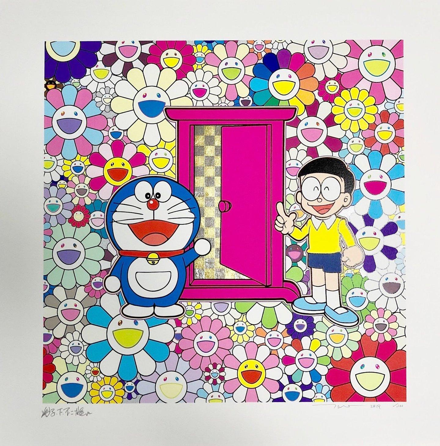 Anywhere Door In The Field Of Flowers by Takashi Murakami