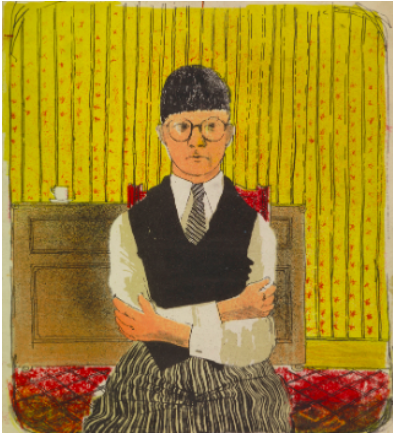 David Hockney Prints: Self Portrait Lithograph in 5 colours 1954