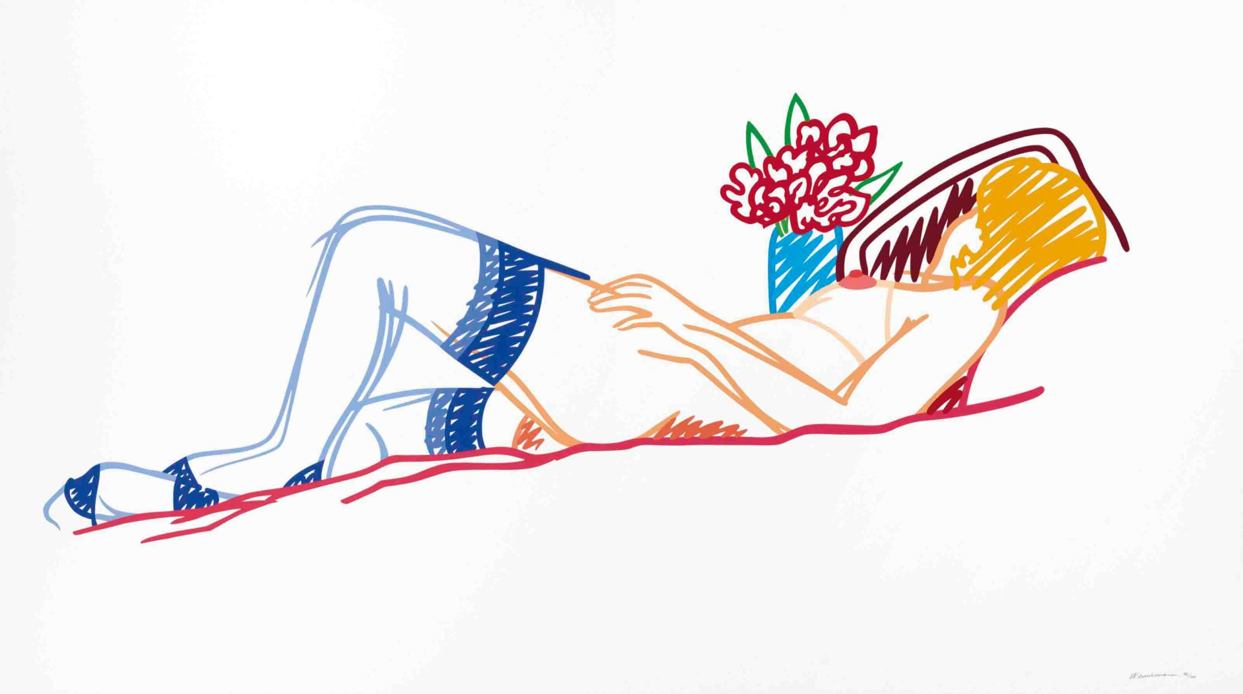 Nude With Bouquet And Stockings by Tom Wesselmann