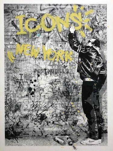The Wall (yellow) by Mr. Brainwash