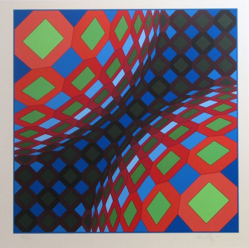 Bi-okta B (composition In Red, White And Green) by Victor Vasarely