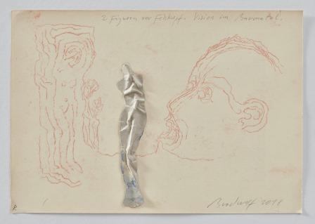Zwei Figuren Vor Felskopf – Vision Im Bavonatal  (two Figures In Front Of A Rock-head (vision In Bav... by Jürgen Brodwolf