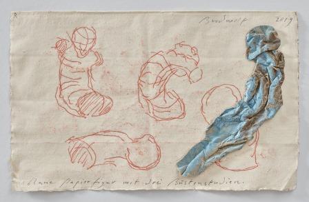 Blaue Papierfigur Mit Drei Büstenstudien (blue Figure With Three Bust-studies) by Jürgen Brodwolf