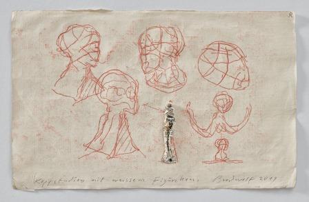 Kopfstudien Mit Weissem Figürchen (head-studies With White Figure) by Jürgen Brodwolf