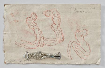 Liegende Vor Drei Aktstudien (reclining Figure In Front Of Three Nude Studies) by Jürgen Brodwolf