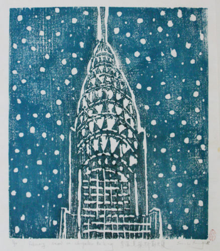 February, Snow On Chryler Building by Su Li Hung at Su Li Hung