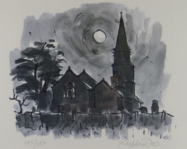 Llanedwen Church By Night by Kyffin Williams at
