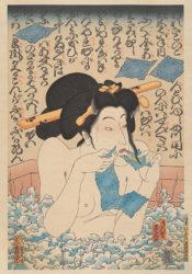 AIDS Series/Geisha In Bath by Masami Teraoka at Catharine Clark Gallery