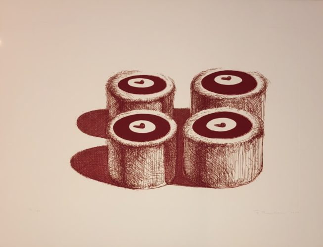 Cherry Cakes (recent Etchings II) by Wayne Thiebaud at