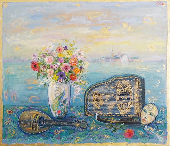 Window In Venice With Bouquet And Antique Objects by Bruno Zupan