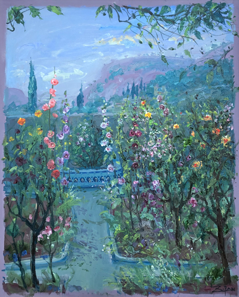 Hollyhocks In Chopin's Garden by Bruno Zupan