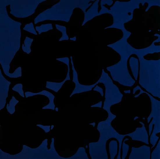 Lantern Flowers, Black And Blue, Oct 4, 2017 by Donald Sultan