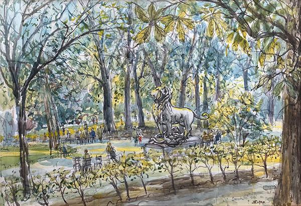 Lion In Luxembourg Garden by Bruno Zupan