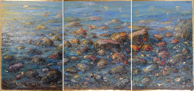 Triptych: Rocks And Sea by Bruno Zupan