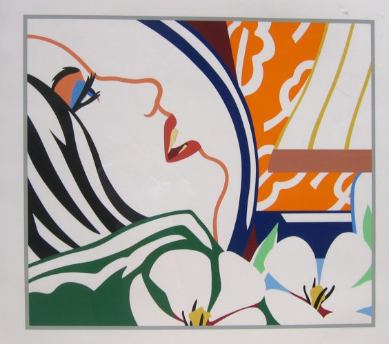 Bedroom Face with Orange Wallpaper by Tom Wesselmann at