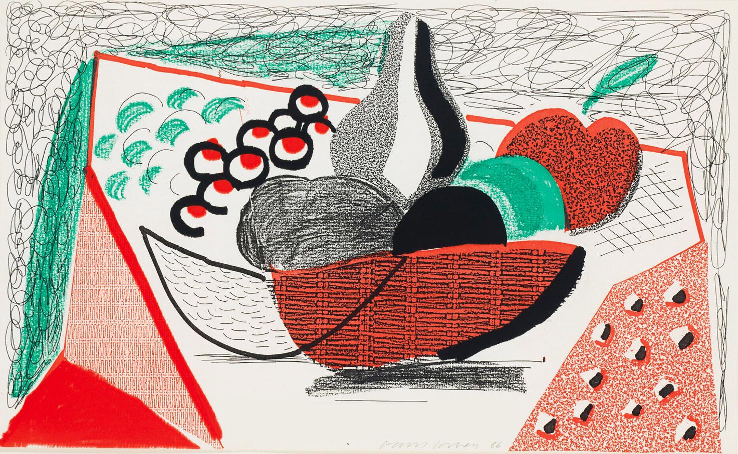 Apples Pears & Grapes, May 1986 by David Hockney