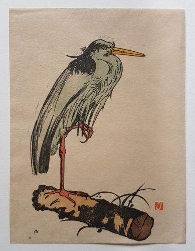 Heron Standing On A Log by Prosper-Alphonse Isaac