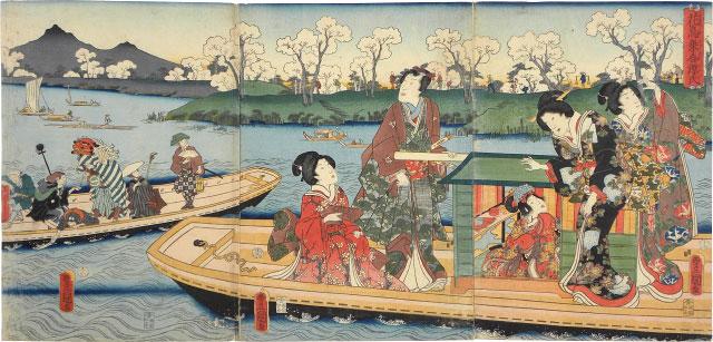 Flowers And Birds: Genji And His Companions Sharing A Boat by Utagawa Kunisada (Toyokuni III)