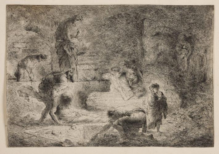 Tobit Burying The Dead. by Giovanni Benedetto Castiglione