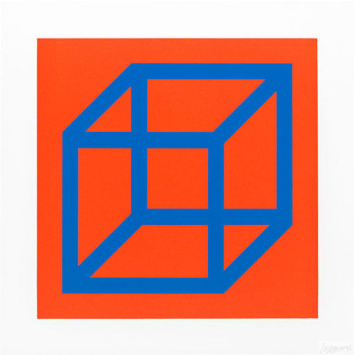 Cubes In Color On Color (blue Orange) by Sol LeWitt