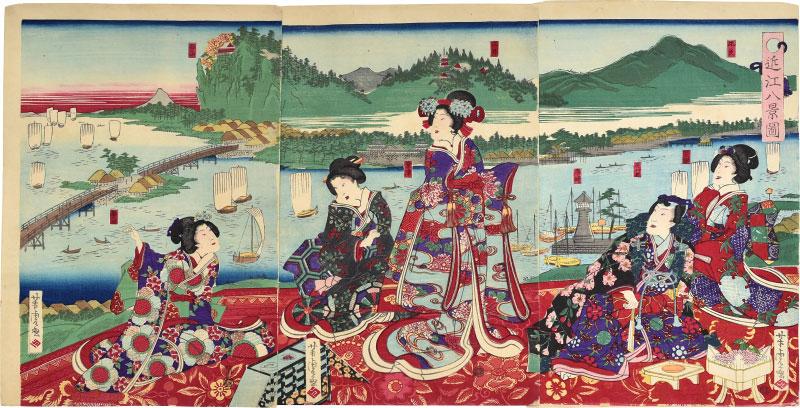 Illustration Of The Eight Views Of Omi by Utagawa Yoshitora