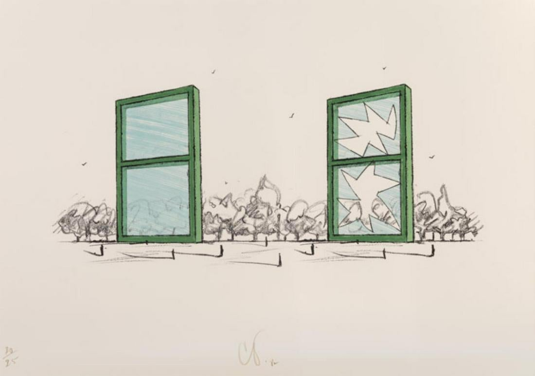 Study For A Civic Monument In The Form Of Two Windows by Claes Oldenburg
