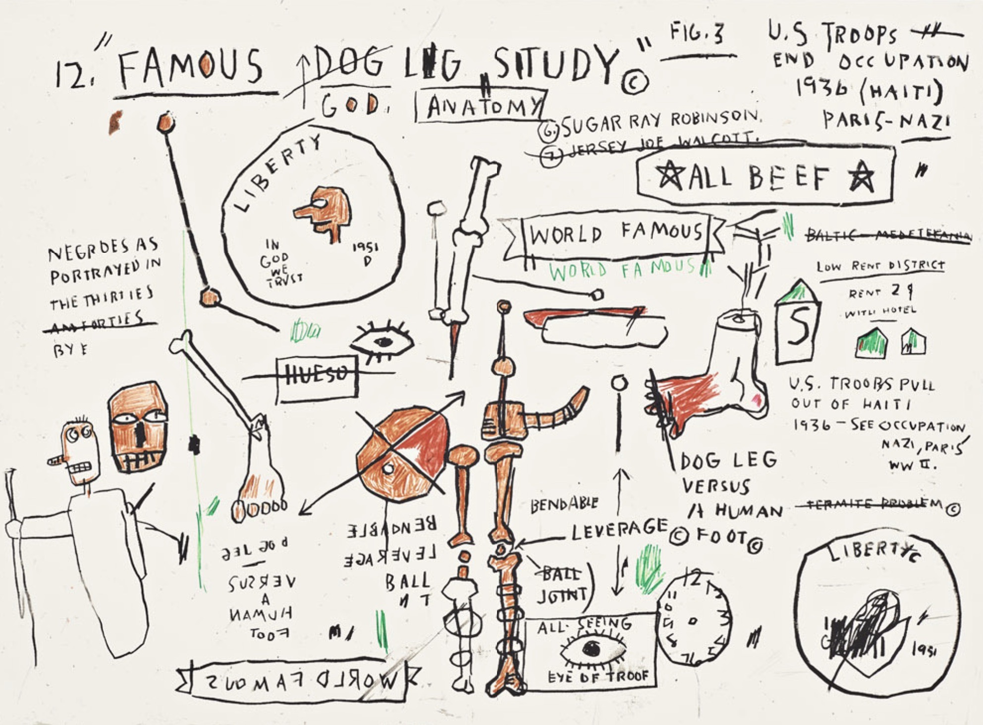 Dog Leg Study by Jean-Michel Basquiat