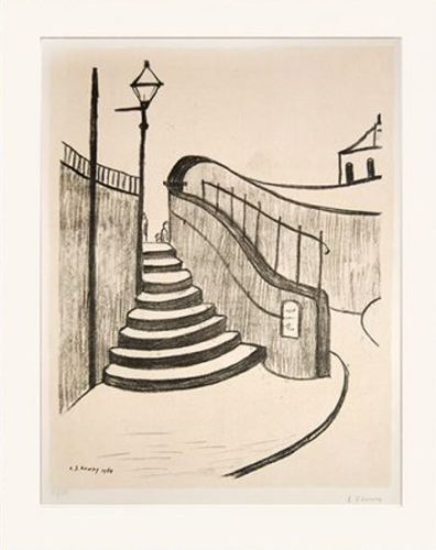 L S Lowry – The Old Steps Stockport by L S Lowry