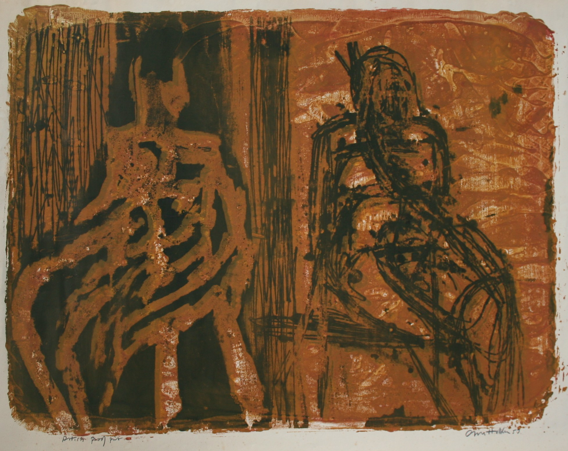 Two Seated Figures by Cliff Holden