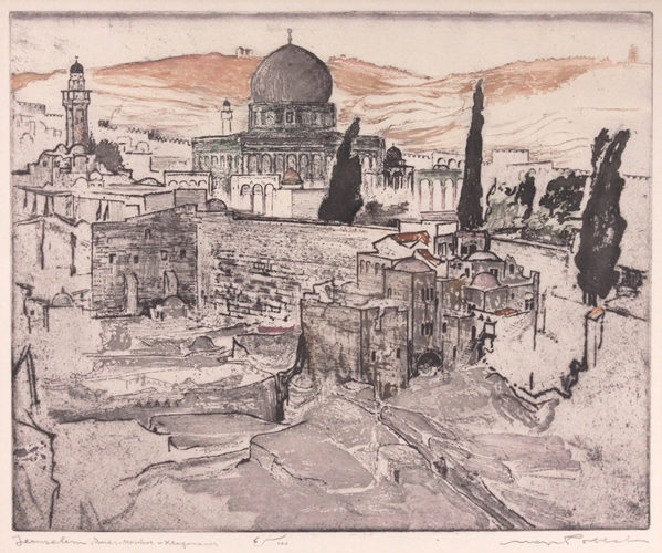 Jerusalem, Omar Mosque, Klagemauer (The Wailing Wall) by Max Pollak