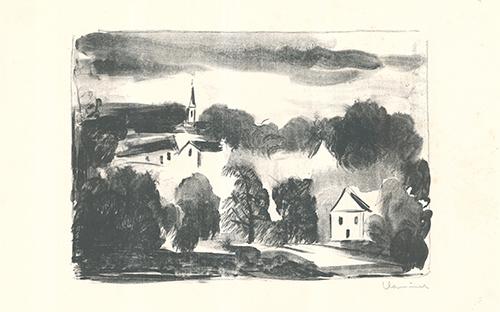 Théméricourt le clocher dans les arbres by Maurice de Vlaminck