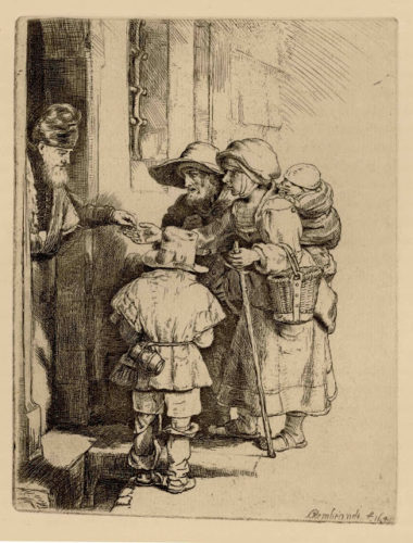 Beggars Receiving Alms at the Door of a House by Harmensz van Rijn Rembrandt at