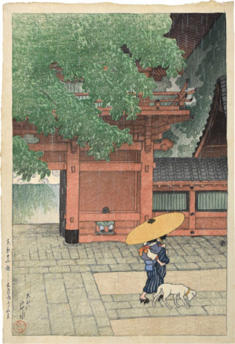Twelve Scenes of Tokyo: Early Summer Showers at Sanno Shrine by Kawase Hasui at