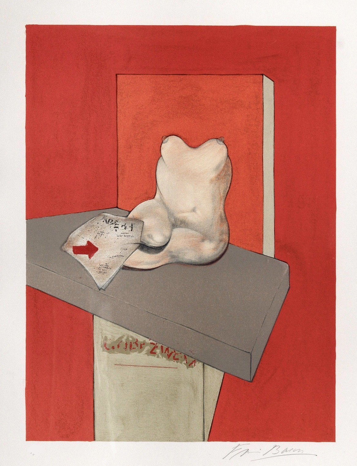 Study for the human body from a drawing by Ingres by Francis Bacon