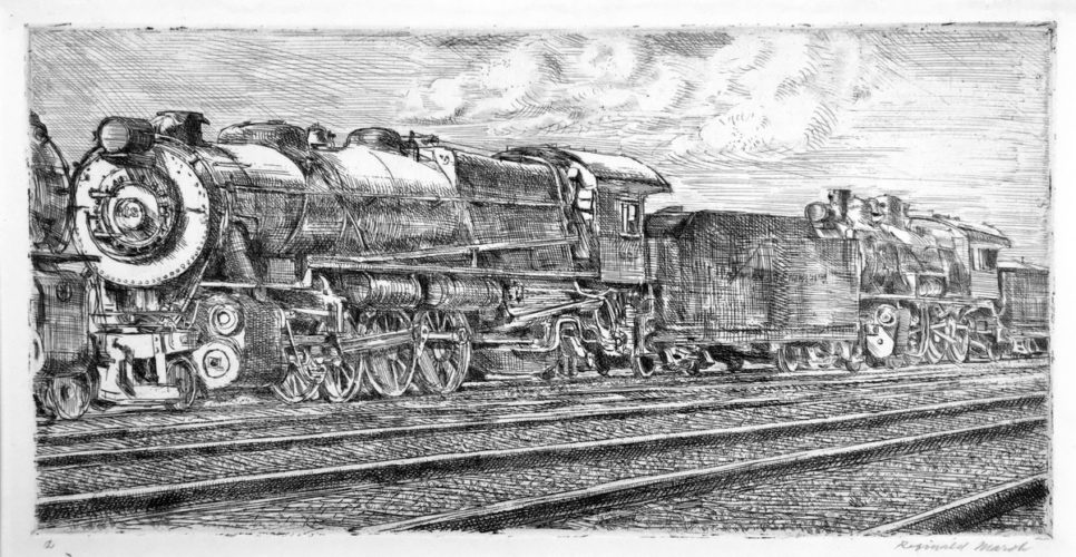 Pennsylvania Rail Road Loco Waiting to be Junked by Reginald Marsh