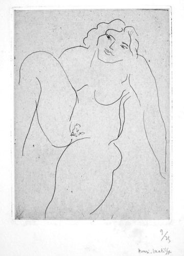 Nu de face, jambe droite repliee by Henri Matisse
