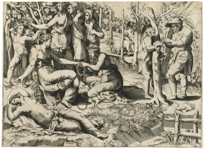 Flora with her Nymphs by Giulio Bonasone
