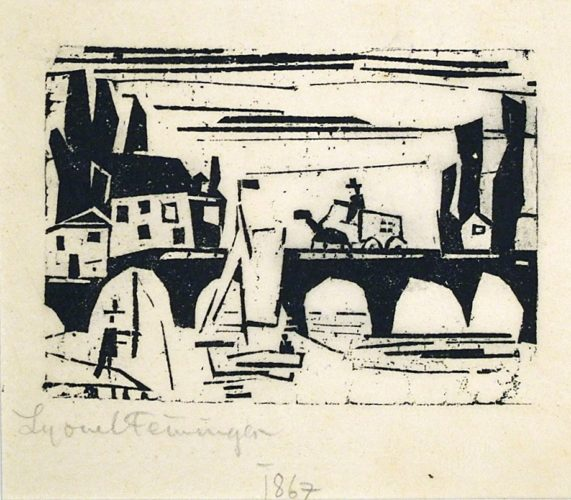 Wagon Crossing a Bridge (Wagen auf einer Brucke) by Lyonel Feininger at