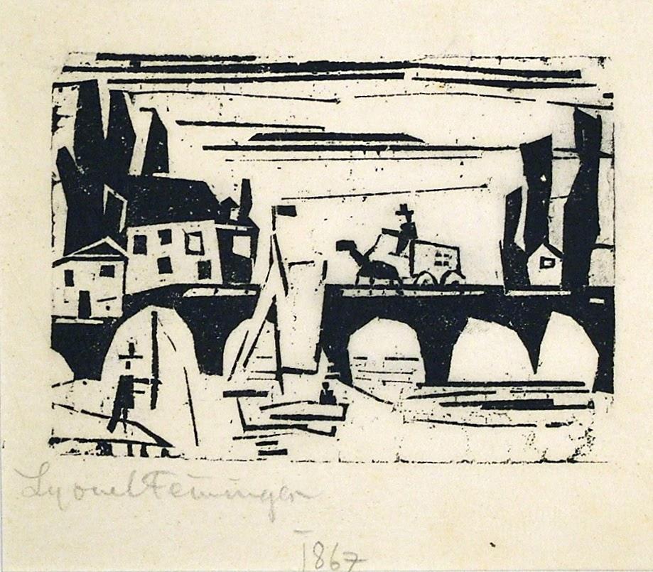 Wagon Crossing a Bridge (Wagen auf einer Brucke) by Lyonel Feininger