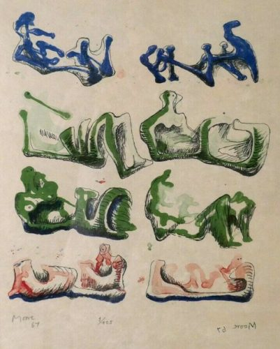 Eight Reclining Figures by Henry Moore at