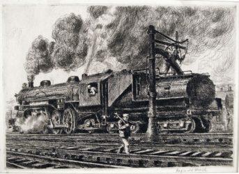 Loco-Erie Watering by Reginald Marsh at Harris Schrank Fine Prints (IFPDA)