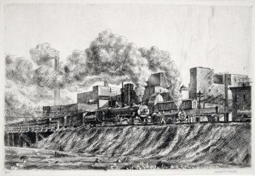 Erie RR and Factories by Reginald Marsh at Harris Schrank Fine Prints (IFPDA)