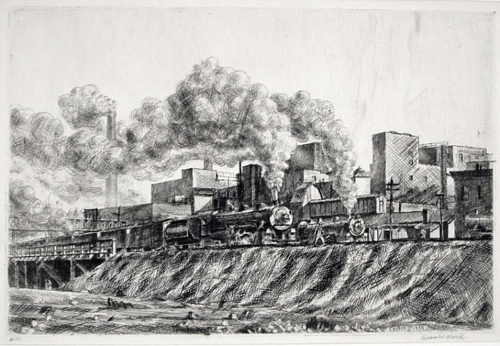 Erie RR and Factories by Reginald Marsh