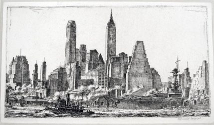 Skyline from Pier 10, Brooklyn by Reginald Marsh at Harris Schrank Fine Prints (IFPDA)