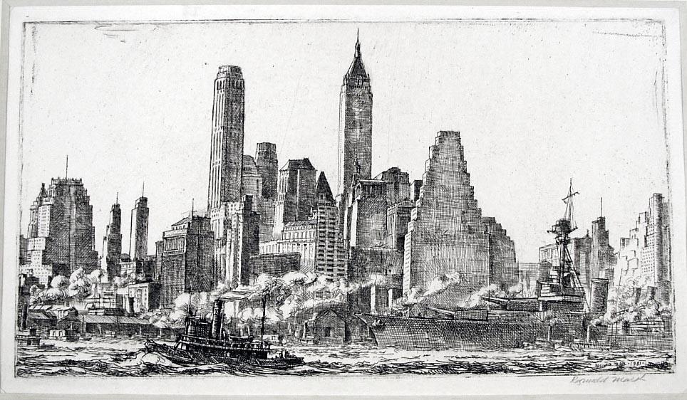 Skyline from Pier 10, Brooklyn by Reginald Marsh