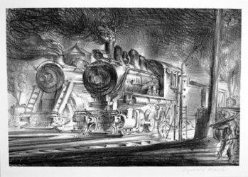 Switch Engines, Erie Yards, Jersey City, Stone No. 3 by Reginald Marsh at Harris Schrank Fine Prints (IFPDA)