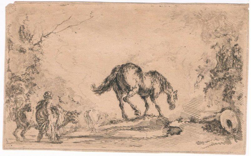"""Free Horse, from """"Diversi capricci"""" by Stefano Della Bella"""
