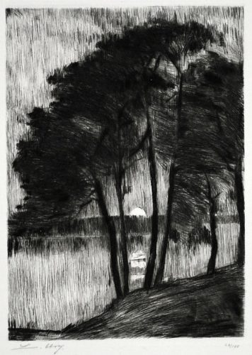 Sunset on the Grunewaldsee by Lesser Ury at