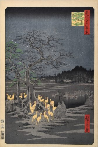 One Hundred Famous Views of Edo: New Year's Eve Foxfires at the Changing Tree, Oji by Utagawa Hiroshige